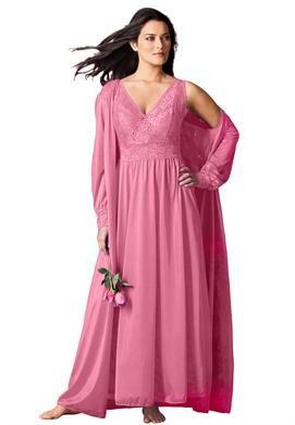 Long Tricot Peignoir Set By Amoureuse Plus Size Nightgowns