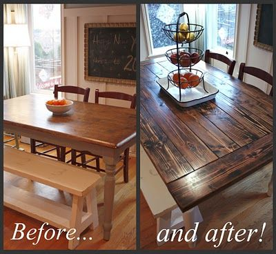 Farmhouse table top- they used their old table base- smart!