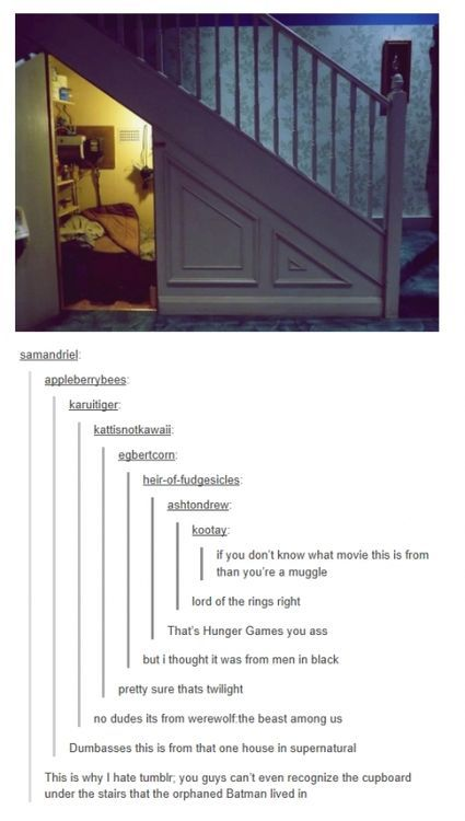 Pfft! It's 221B. What is it like in your funny little heads? <-no, no, it's Amelia Pond's room. <- no, this is loki's secret hide-out!<- guys this is NARINIA!!!<- It's obviously where the Daleks are hiding out<- OH MY GOSH YOU GUYS. IT'S THE TARDIS. GET IT RIGHT!<- Please, it's clearly the entrance to Olympus <= omfg! Guys it the New York Institute, oh right. The glamour mundanes can't see it<<its district 13!!!< Would y'all shut up? It's Camp Half-Blood.