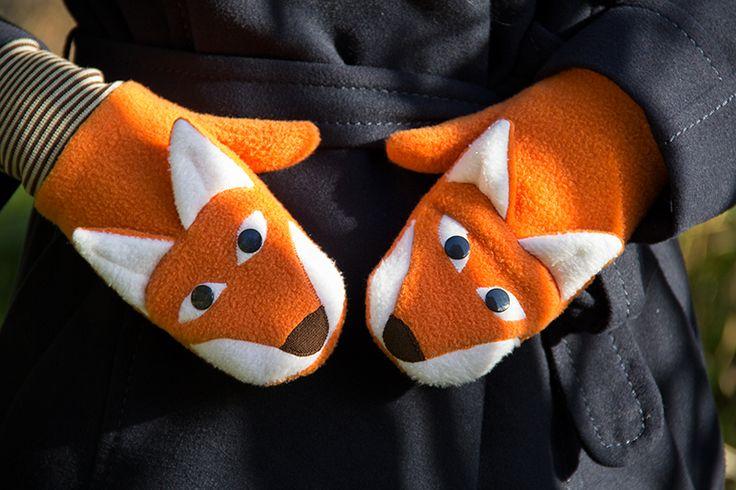 Handschuhe mit Fuchsapplikation