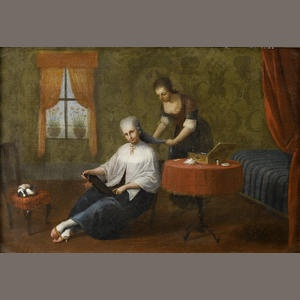 The Master of the Reflessi (Italian), 18th Century. An interior with a lady at her toilet