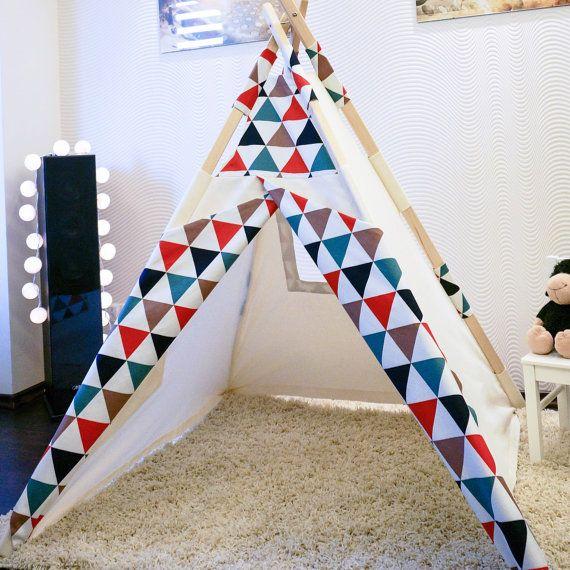 "Kids Teepee Tent Play House ""Arlekin"" + Poles + Play Mat"