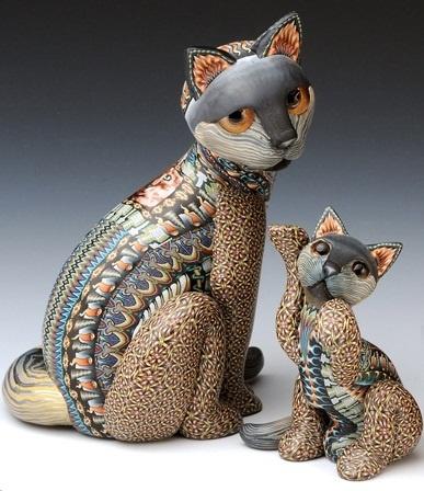 Fimo Cat Mama & Baby