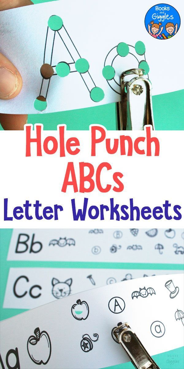 ABC worksheets that are hands on! Students use a hole punch to practice letter identification and learn initial sounds in 5 engaging letter activities per page.