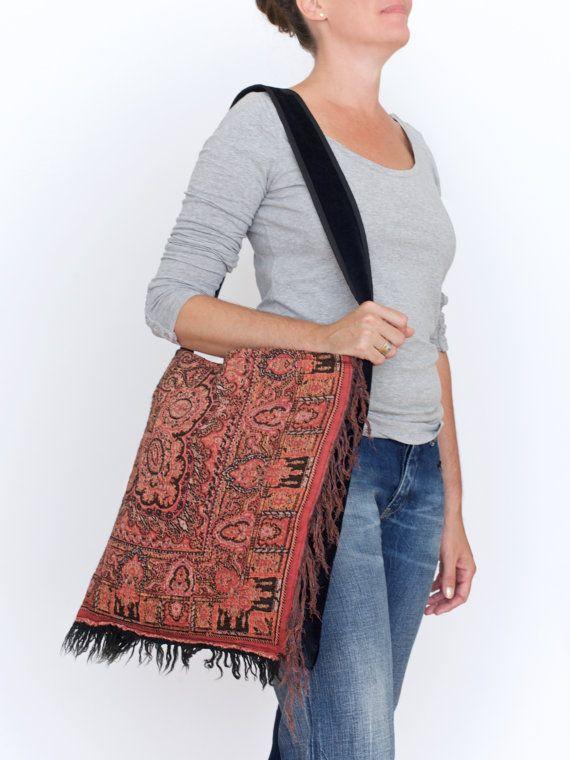 black velvet and rust red tote bag - boho fringes tote bag - woven market tote - cross body arty bag - goth style tote - shoulder bag
