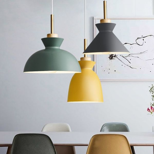 Multicolor Modern Simple Personality Creative Chandelier Art Decorative Lighting E27 Nordic Metal Woodceiling Light Cafe Bar Dining Room Pendant Lamp Fixtures Hanging Light Fixtures Indoor Pendant Lights Dining Room Pendant Lamp