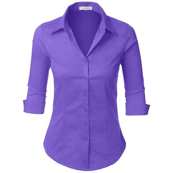 LE3NO Womens Roll Up 3/4 Sleeve Button Down Shirt with Stretch ($11) ❤ liked on Polyvore featuring tops, button-down shirt, button up shirts, 3/4 sleeve tops, purple button up shirt and 3/4 length sleeve tops