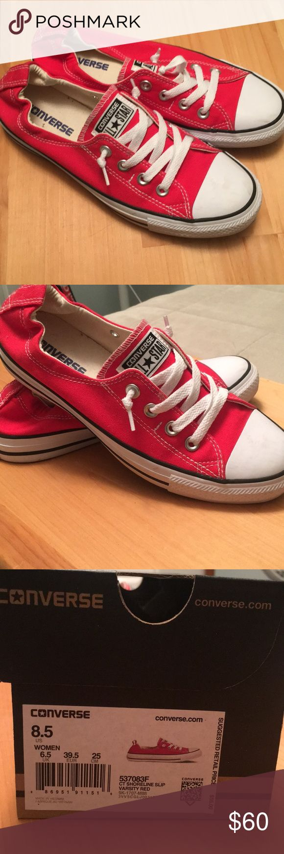 Red Converse Slip Ons Only worn one day inside for a Halloween costume. Super comfortable! Converse Shoes Sneakers