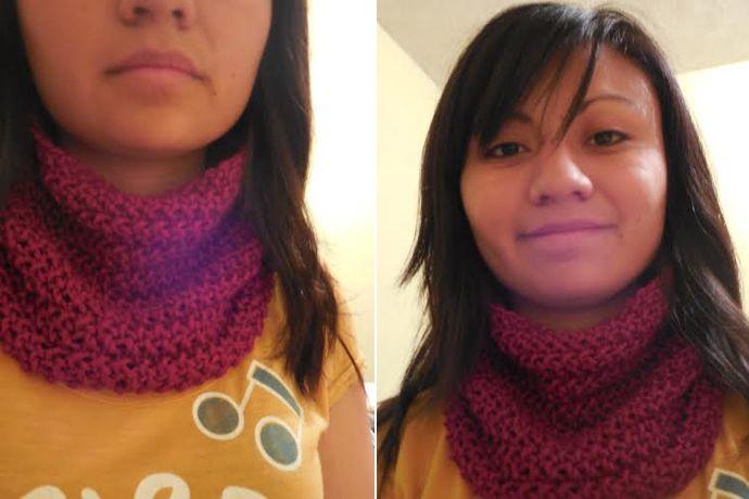 Cuello en punto de arroz tejido en telar por Roxana