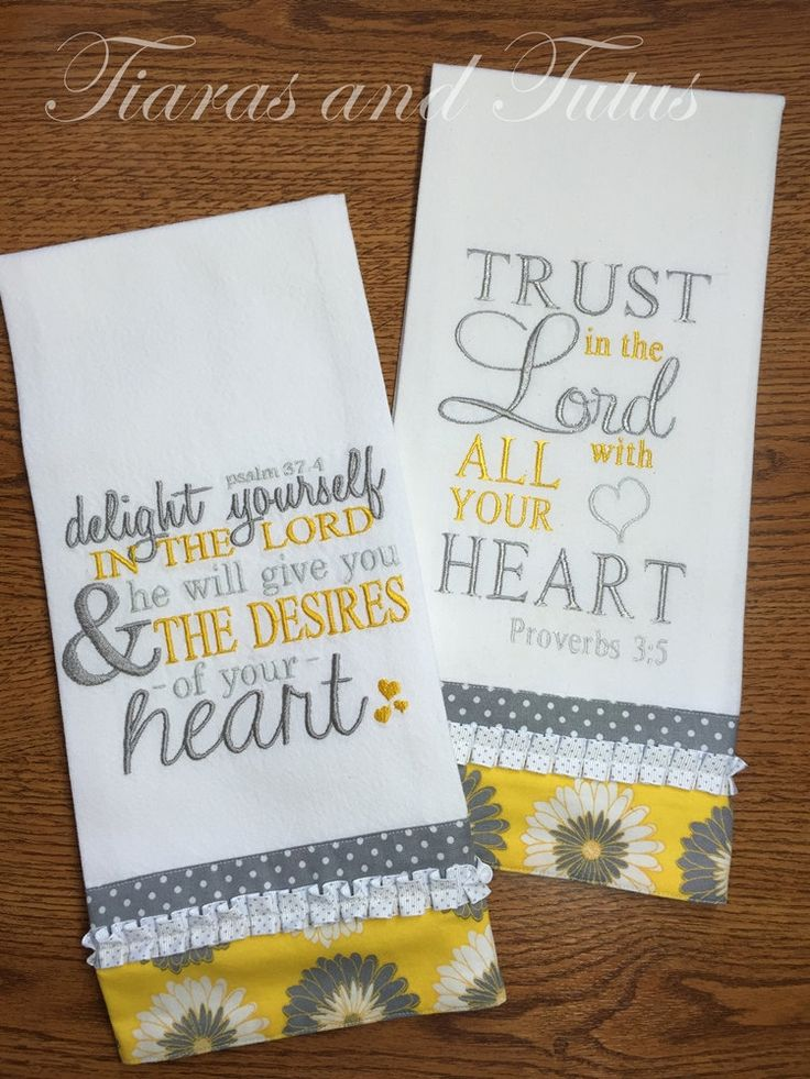 Kitchen Towel Set Embroidered with Bible Verses; Gray and Yellow; Trust in the Lord; Delight Yourself in the Lord; Bridal Shower Gift by elainestiarasntutus on Etsy