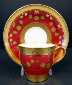 Formal Antique Minton Demitasse Cup  Saucer: