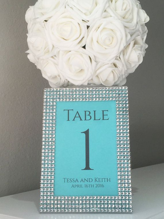 Tiffany Wedding Rhinestone 5x7 Frame with by KimeeKouture on Etsy