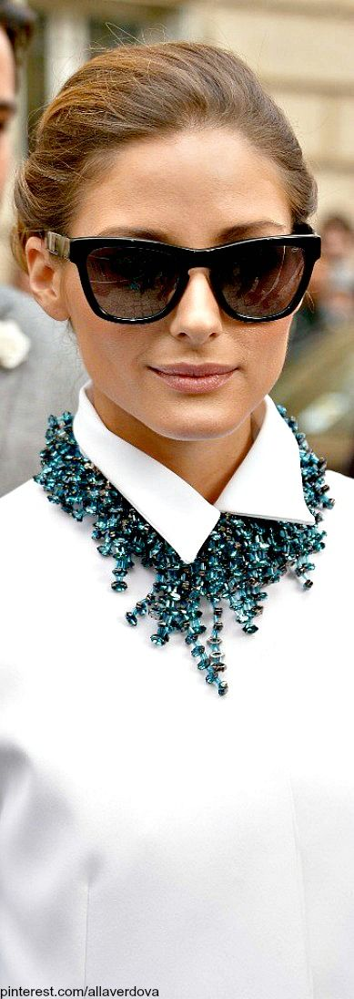 Street style of Olivia Palermo - statement necklace with a button down shirt. #nextlevelchic
