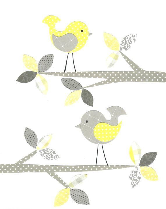 Yellow and Gray Nursery Bird Nursery Girl by SweetPeaNurseryArt, $15.00