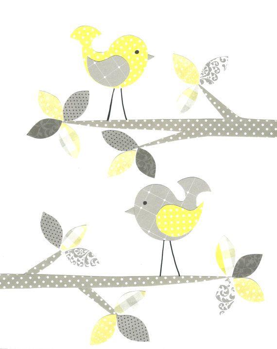Yellow and Gray Nursery Bird Nursery Girl by SweetPeaNurseryArt, $15.00