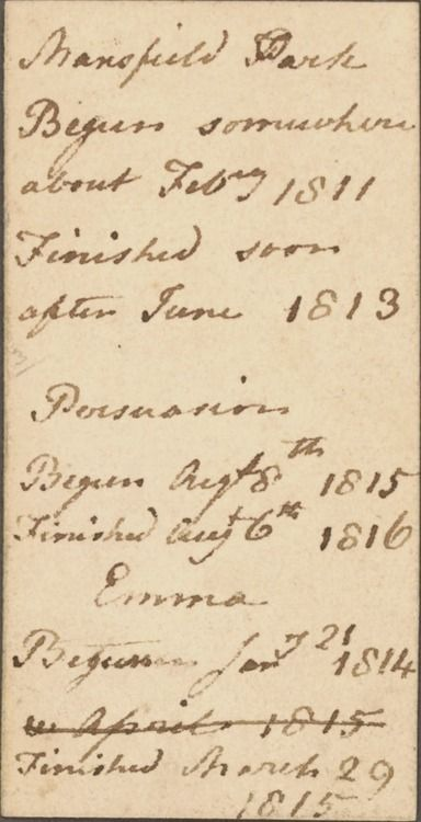 Jane Austen's handwriting: a list of her novels Mansfield Park, Persuasion, and Emma, and the dates when she started and finished them.