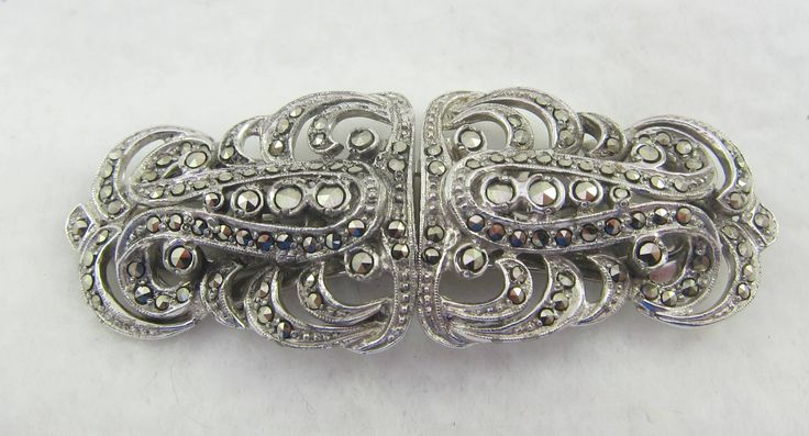 Art Deco Style Marcasite Duette Brooch Dress Clips by Framarines on Etsy