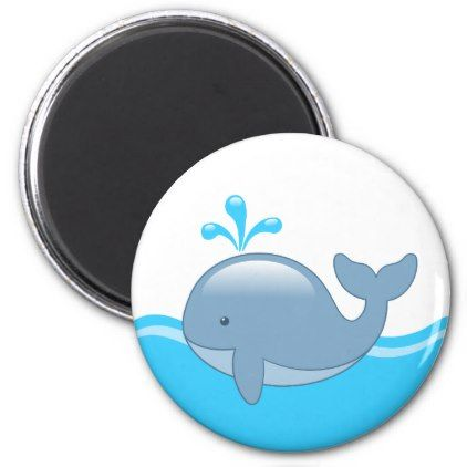 Cute Chubby Cartoon Whale Magnet - animal gift ideas animals and pets diy customize