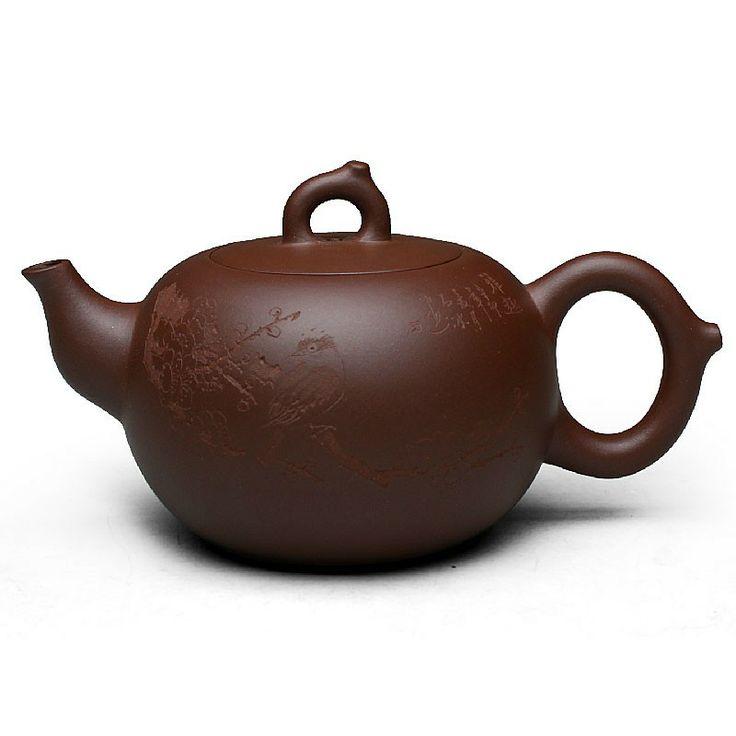 Zi Sha-Purple Clay Tea Pot-280ML-Magpie on Branch-Hand-carved - Tea Pot - Teaware Enjoy / Slow / Green