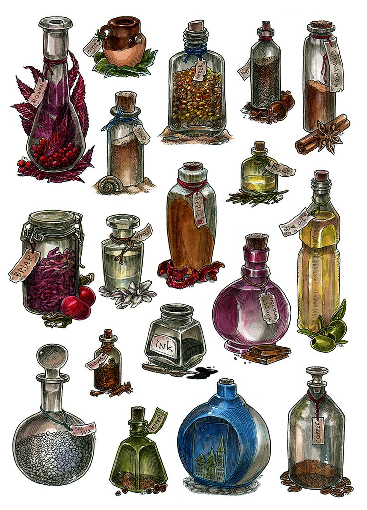 Bottles - watercolor by JuliaTar on DeviantArt