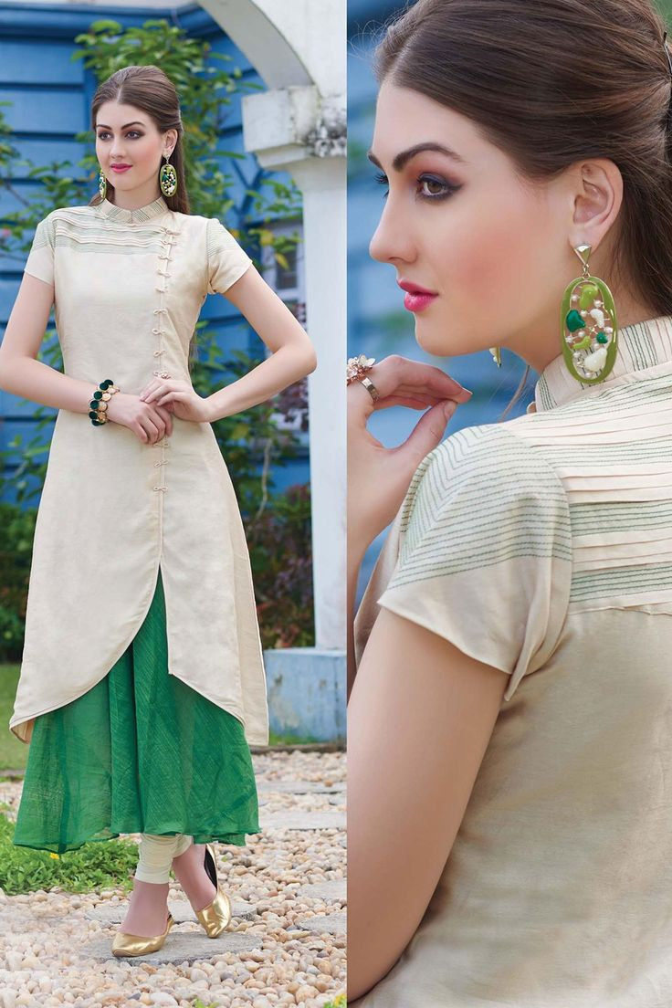 #Beige and #green lushful georgette #kameez with #pleats and pintucks-SL5490