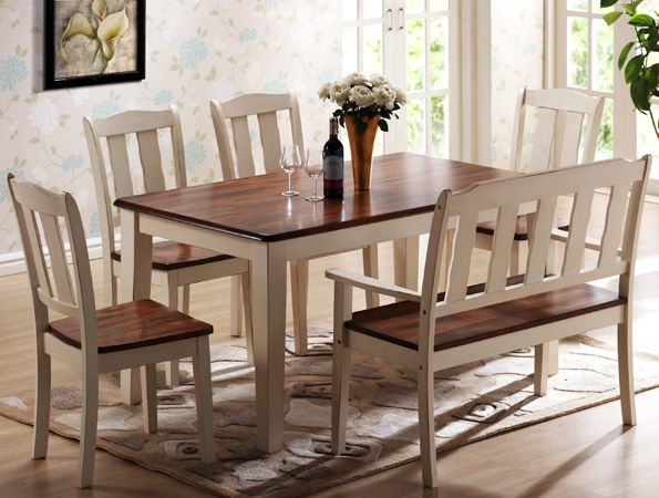 7700 Casual Two Toned Dining Room Set In Solid Wood Features A Rectangular Table With