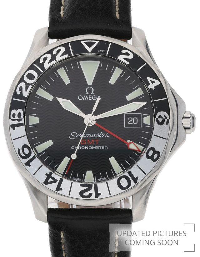 Omega Seamaster GMT 2534.50.00 Steel Black Leather Black Baton Dual Color Bezel 41 MM