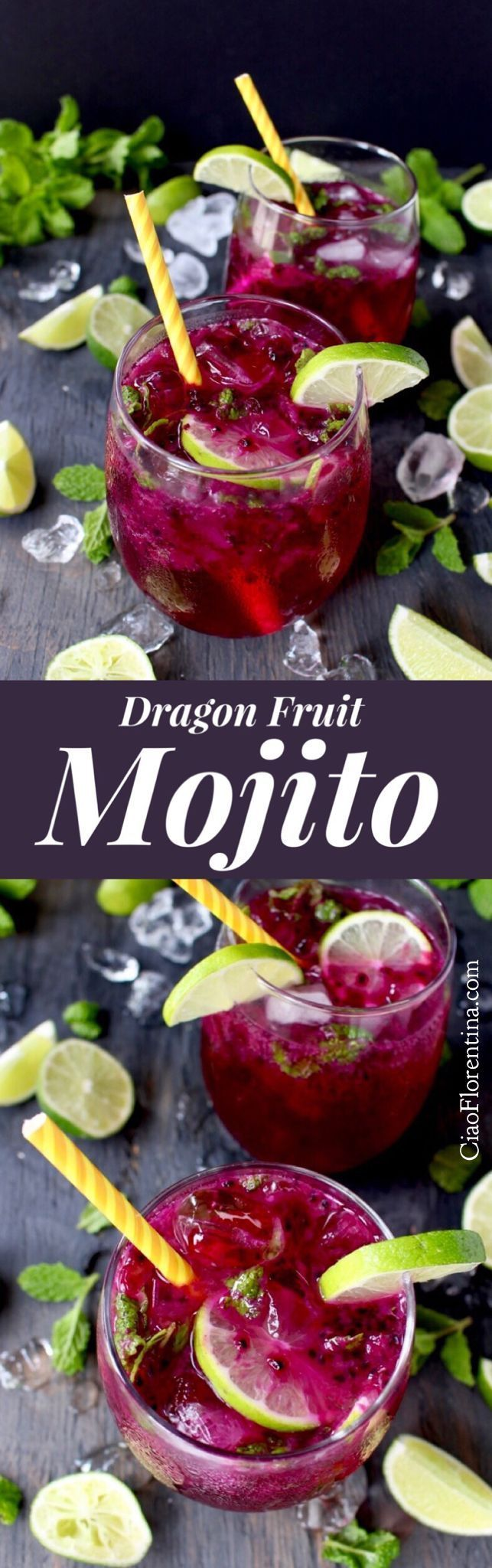 Dragon Fruit Mojito Recipe with Mint and Lime | CiaoFlorentina.com @CiaoFlorentina #mojitorecipes