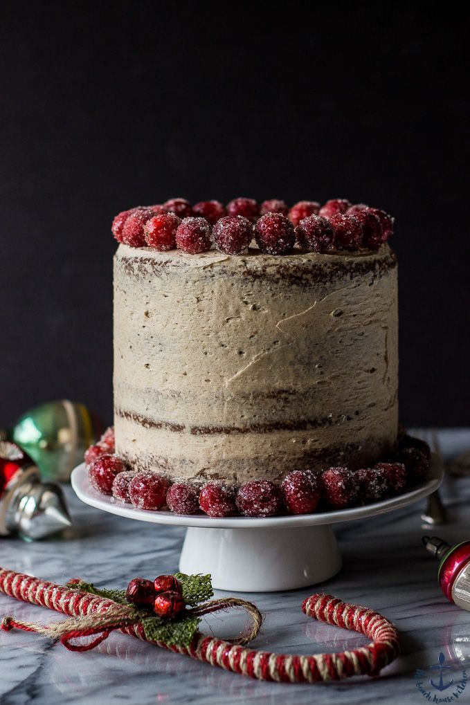 This Spiced Layer Cake with Cinnamon Buttercream Frosting and Sugared Cranberries is the perfect centerpiece for your holiday dessert table.