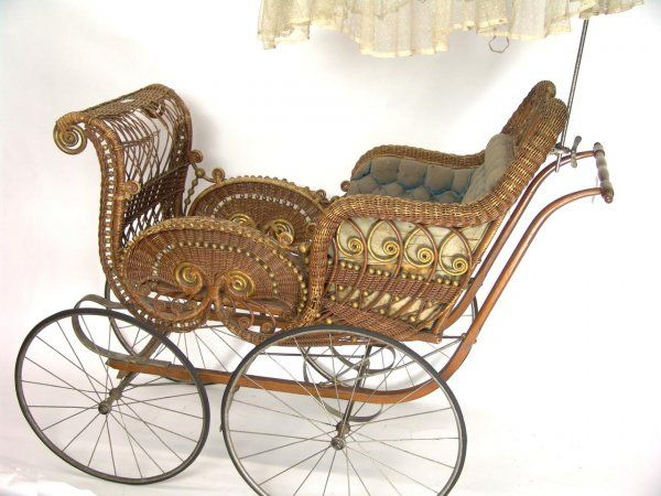Victorian wicker baby carriage~Heywood Wakefield ...   with an umbrella
