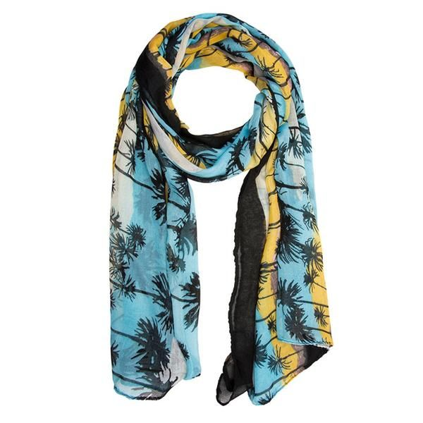 Blue Scarf With Paisley Print, 100% Polyester, Dry Clean only.  Sunset hues and tropical motifs add beautiful, summer flair to this must-have scarf ! Our scarf selection is stylishly designed without sacrificing comfort. We offer different choices of fabric, color, and style. Browse our selection and youll definitely find your unique look.