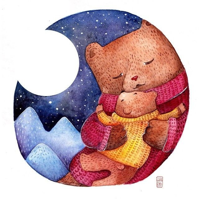 Холодает, надо утепляться) #art #watercolor #aquarelle #акварель #иллюстрация #illustration #bear #медведь #ночь #cold #hug #семья #family