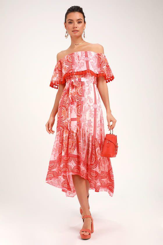 0734429a1dad Lulus | De La Sol Orange and White Print Off-the-Shoulder Midi Dress ...