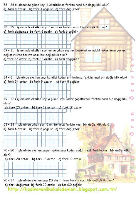 ilkokul ödevleri: 3. sınıf çıkarma işlemi problemleri