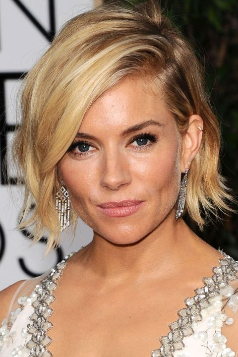 sienna miller golden globes hair | Sienna Miller Goes For A Choppy Short Hairstyle At The Golden Globe ...