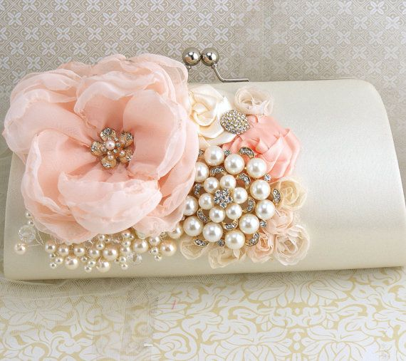 Clutch Bridal Clutch, Party Clutch in Peach, Ivory and Gold with Chiffon and Pearls