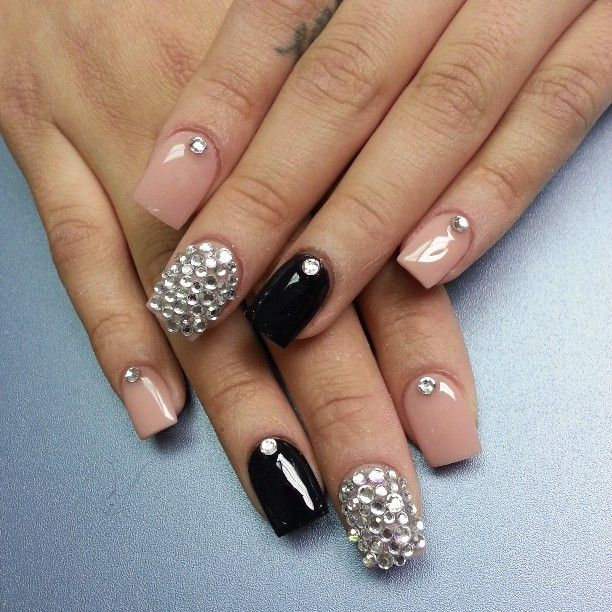 I really like this for prom nails - Best 25+ Pink Bling Nails Ideas On Pinterest Bridal Nails