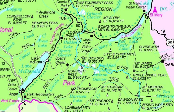 Lively image throughout printable map of glacier national park