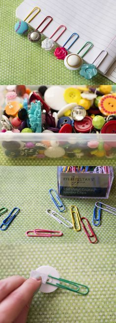 DIY Button paperclips… could put numbers on these so that completed work would be easy to put in order