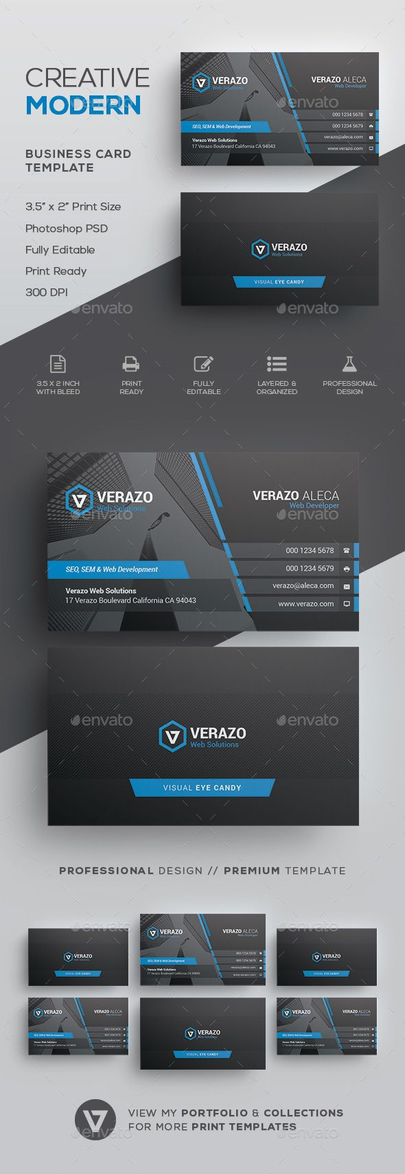 Modern Corporate Business Card Template - #Corporate #Business #Cards Download here: https://graphicriver.net/item/modern-corporate-business-card-template/19765153?ref=alena994