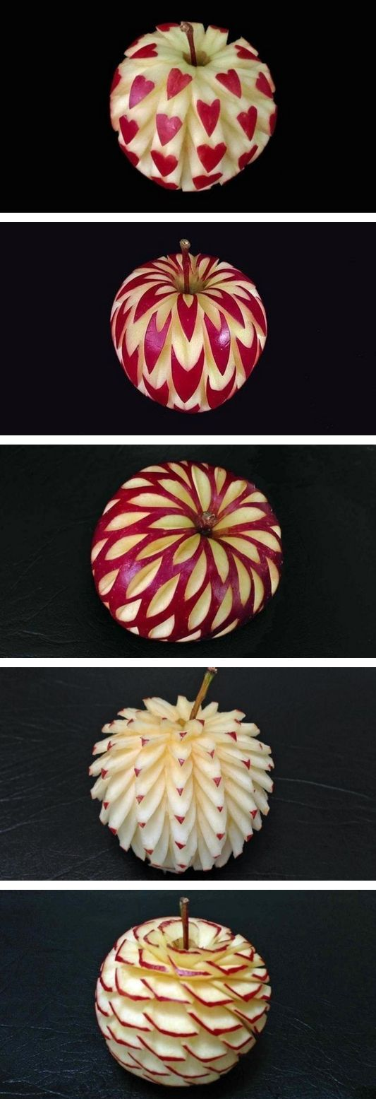 Beautiful apples art carving ~ now, I think I'm pretty creative but this I could not do