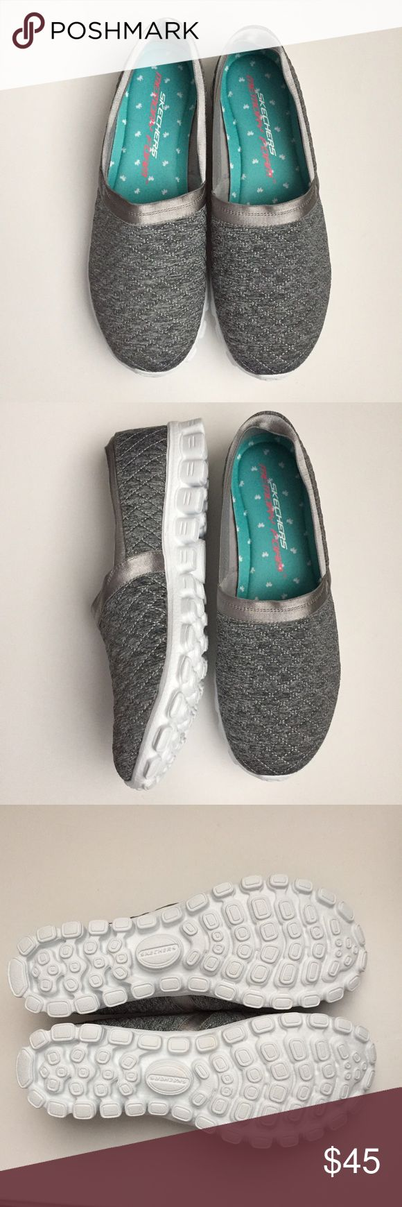 NEW IN BOX Skechers flex Memory Foam NEW IN BOX Gray Quilted Slide-On Skechers Flex Memory Foam Shoes Size: 8 Bundle & Save! 🛍 Skechers Shoes Flats & Loafers