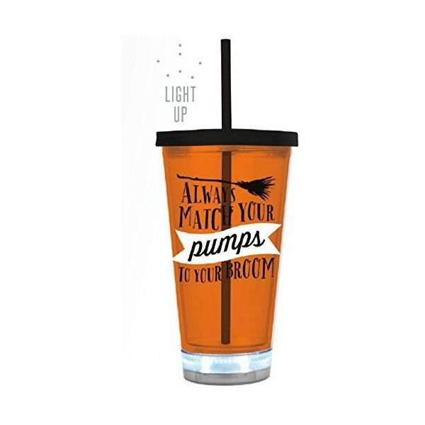 "Amazon.com | Halloween Tumbler ""Always Match Your Pumps With Your... ($15) ❤ liked on Polyvore featuring home, kitchen & dining, drinkware, acrylic tumblers, acrylic wine glass, straw tumbler, halloween wine glass and halloween wine glasses"