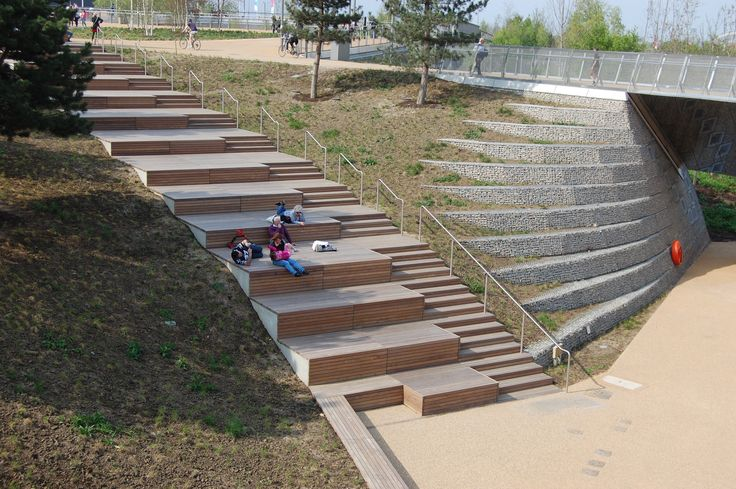 Queen Elizabeth Olympic Park, Stratford, London – Wooden Steps and Seating