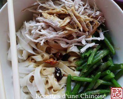 Recettes dune Chinoise: Nouilles froides au poulet, sauce au sésame 麻酱鸡丝凉面 májiàng jīsī liángmiàn