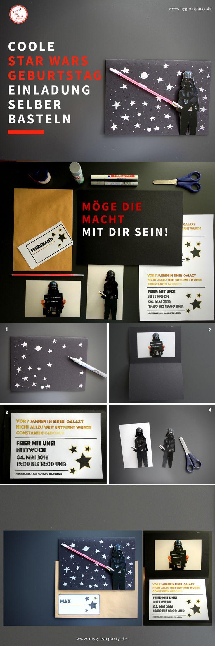 Coole Star Wars Geburtstag Einladung selber basteln. Auf der Außenseite mit Darth Vader und rotem Knicklicht als Laserschwert. Mit Star Wars inspirierten Einladungstext. Bastelanleitung zum Nachmachen.  https://www.mygreatparty.de/blogs/news/117732549-coole-star-wars-geburtstag-einladung-selber-basteln
