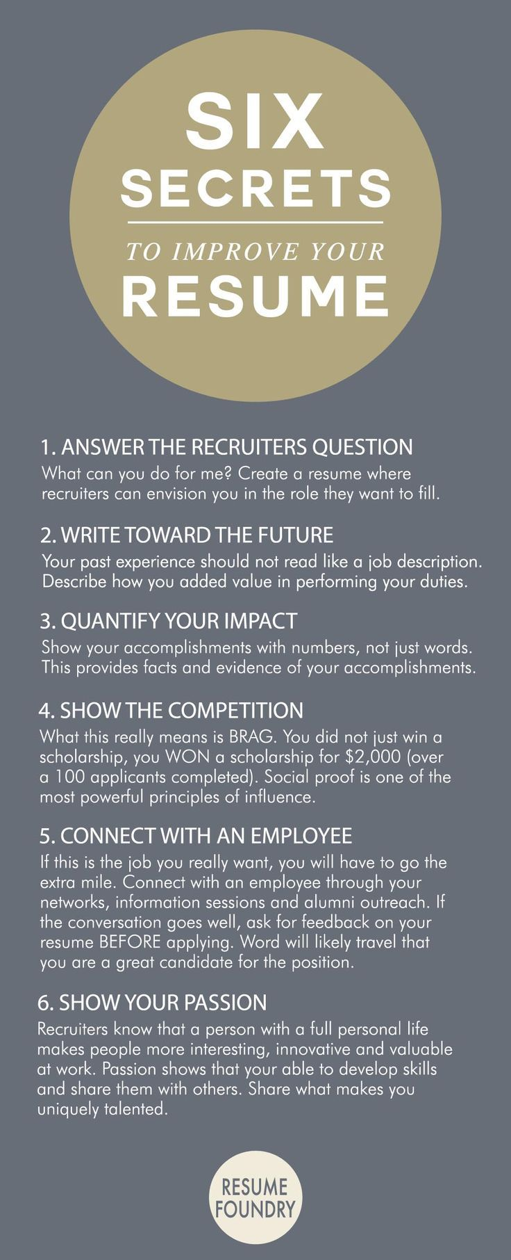 Six amazing secrets to improve your resume.  // Career Advice & Ideas