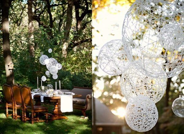 DIY Wedding Crafts : DIY String Chandeliers Ruffled