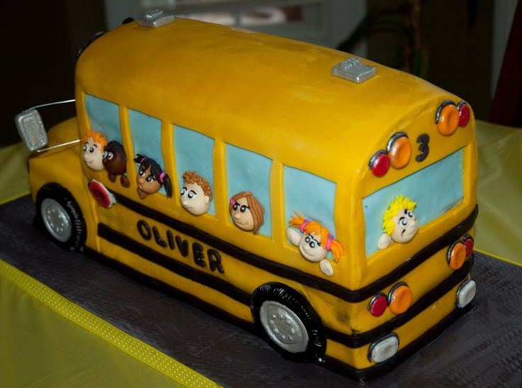 yellow school bus — Birthday Cakes