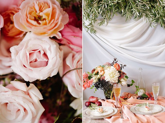 Romantic Peach and Plum Fall Wedding Inspiration | Glamour & Grace
